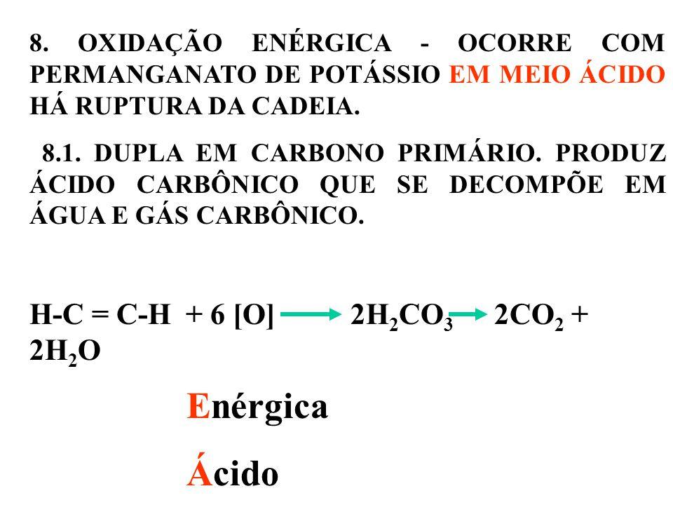 8.OXIDAÇÃO ENÉRGICA - OCORRE COM PERMANGANATO DE POTÁSSIO EM MEIO ÁCIDO HÁ RUPTURA DA CADEIA.