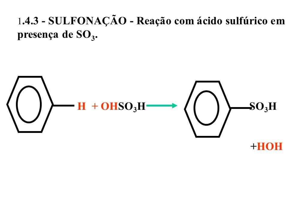 1.4.3 - SULFONAÇÃO - Reação com ácido sulfúrico em presença de SO 3. H + OHSO 3 H SO 3 H +HOH