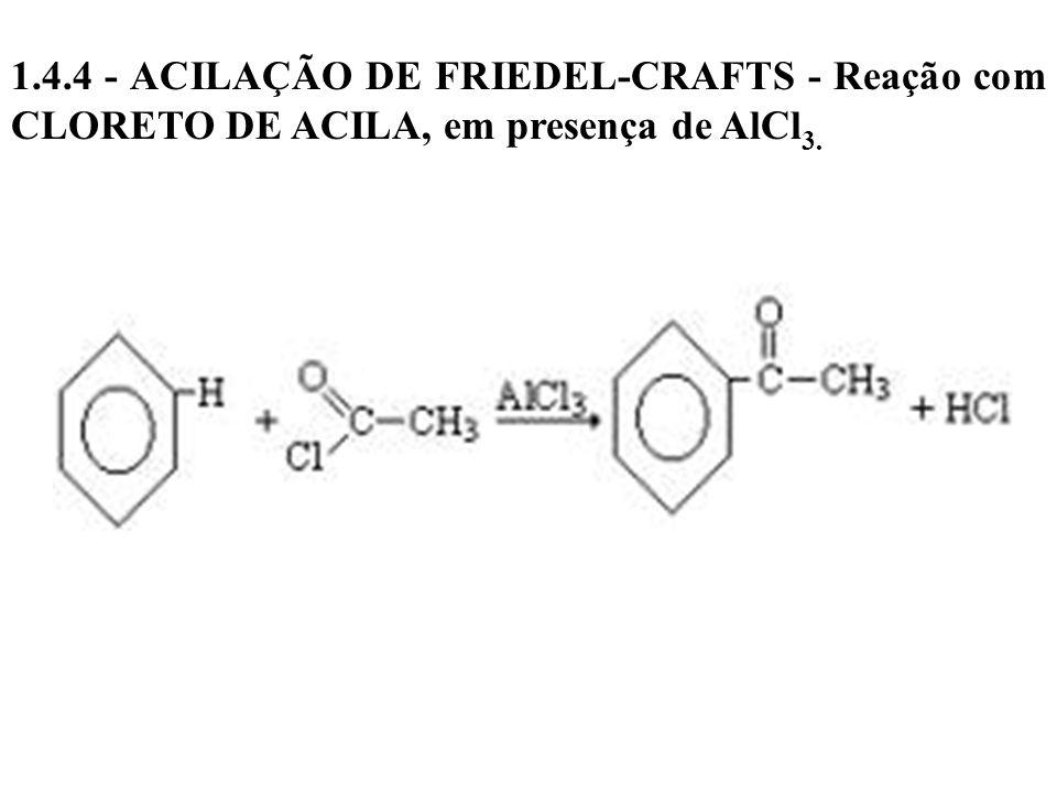 1.4.4 - ACILAÇÃO DE FRIEDEL-CRAFTS - Reação com CLORETO DE ACILA, em presença de AlCl 3.