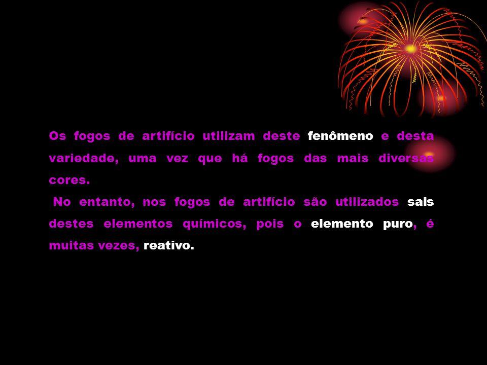 Os fogos de artifício utilizam deste fenômeno e desta variedade, uma vez que há fogos das mais diversas cores. No entanto, nos fogos de artifício são