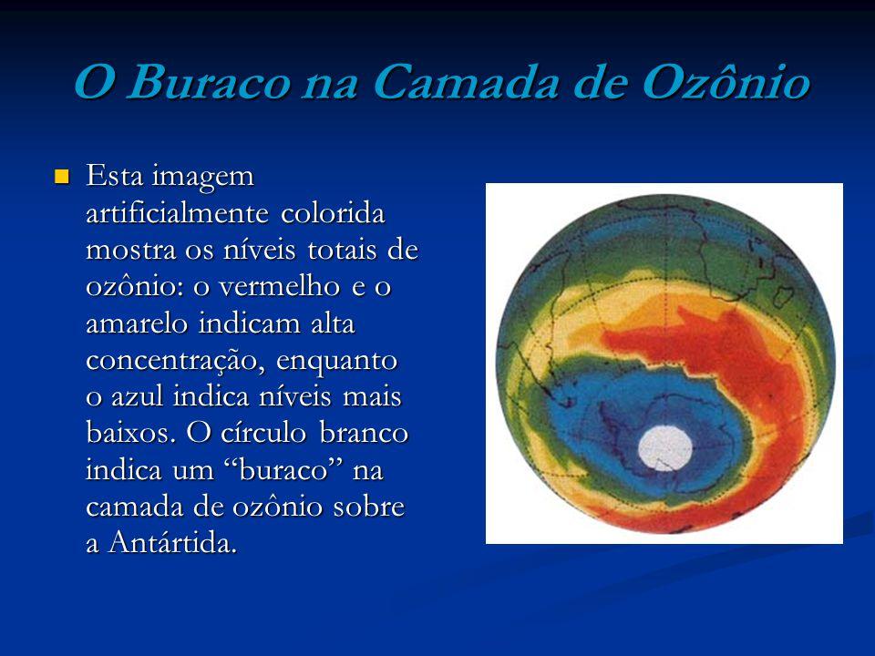 O Buraco na Camada de Ozônio Esta imagem artificialmente colorida mostra os níveis totais de ozônio: o vermelho e o amarelo indicam alta concentração,