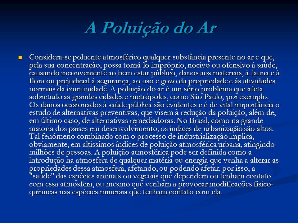 A Poluição do Ar Considera-se poluente atmosférico qualquer substância presente no ar e que, pela sua concentração, possa torná-lo impróprio, nocivo o