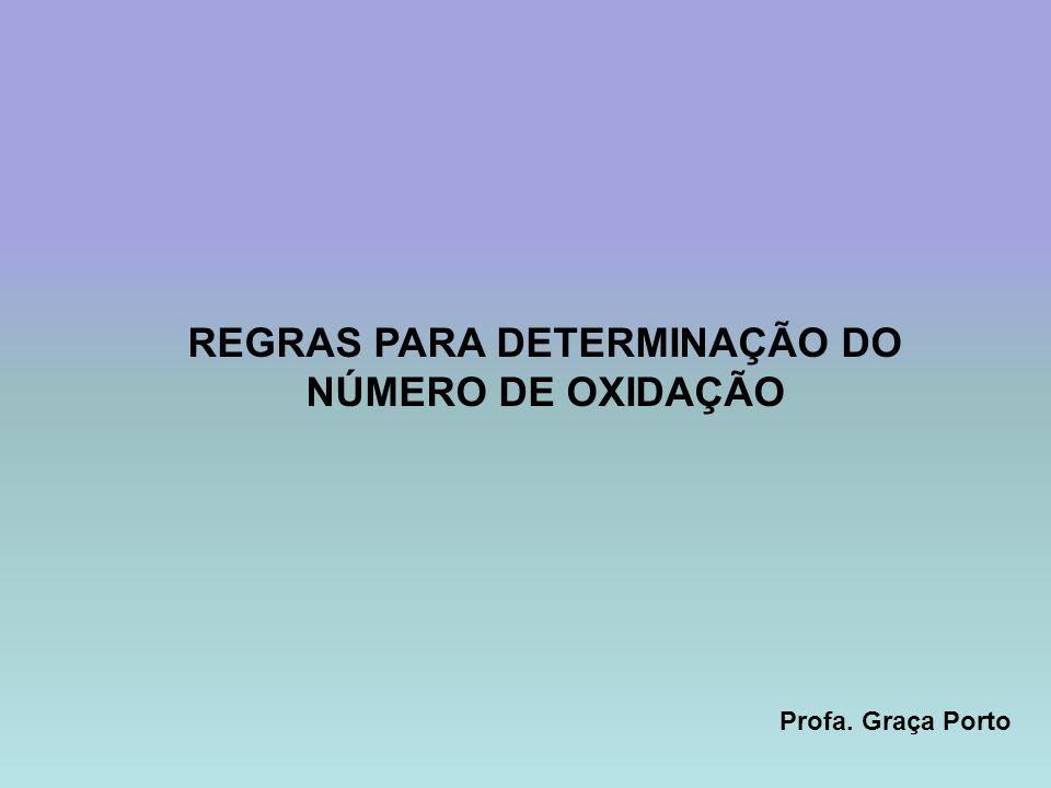 Profa. Graça Porto REGRAS PARA DETERMINAÇÃO DO NÚMERO DE OXIDAÇÃO