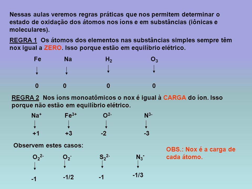 REGRA 3 Em substâncias compostas alguns elementos possuem nox fixo.