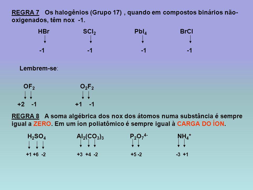 REGRA 7 Os halogênios (Grupo 17), quando em compostos binários não- oxigenados, têm nox -1. HBr SCl 2 PbI 4 BrCl Lembrem-se: OF 2 O 2 F 2 +2+1 REGRA 8