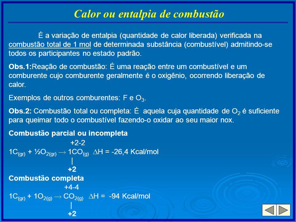 Calor ou entalpia de combustão É a variação de entalpia (quantidade de calor liberada) verificada na combustão total de 1 mol de determinada substânci