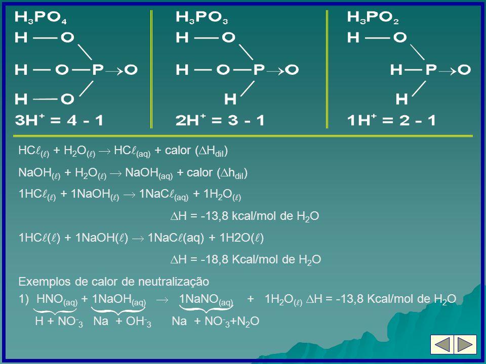 HC ( ) + H 2 O ( ) HC (aq) + calor ( H dil ) NaOH ( ) + H 2 O ( ) NaOH (aq) + calor ( h dil ) 1HC ( ) + 1NaOH ( ) 1NaC (aq) + 1H 2 O ( ) H = -13,8 kca