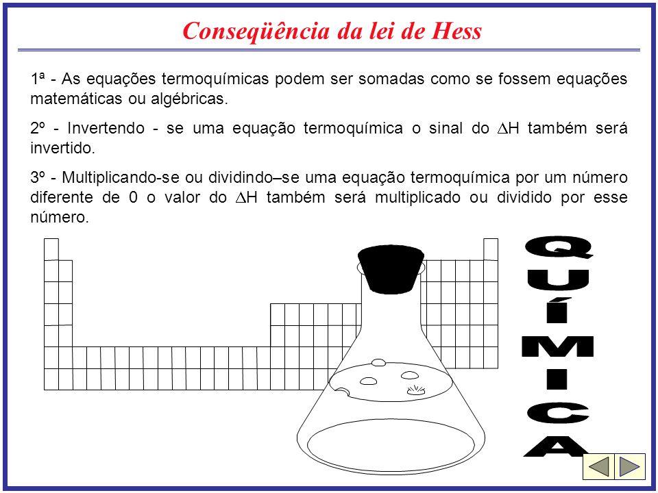 Conseqüência da lei de Hess 1ª - As equações termoquímicas podem ser somadas como se fossem equações matemáticas ou algébricas. 2º - Invertendo - se u
