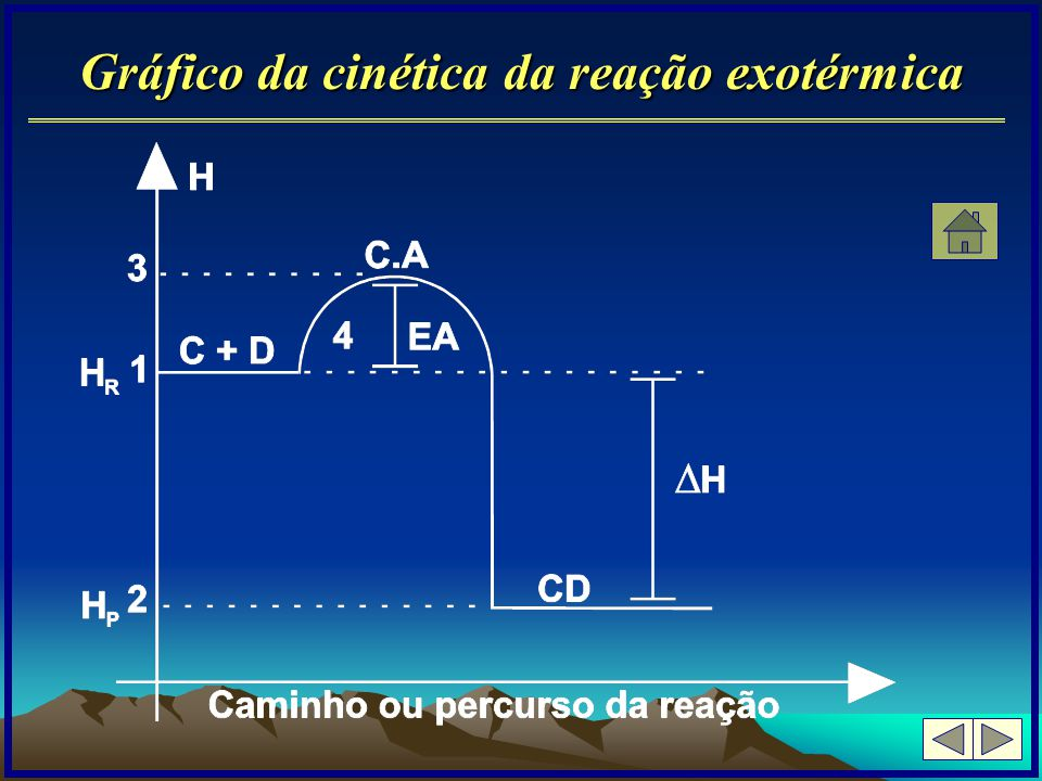 Gráfico da cinética da reação exotérmica