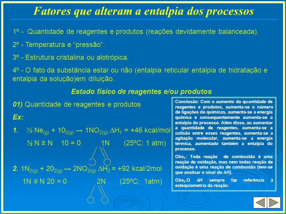 Cáluculo do Y ( H V ou H c ) 1g VAP 580 cal - H V = +10,44 kcal/mol 18g___ Y - H c = -10,44 kcal/mol Y = 10.440 cal/mol ou 10,44 Kcal/mol 1 H 2(g) + ½ O 2(g) 1 H 2 O (V) H 1 = 58,12 kcal/mol (25ºC; 1 atm) 1 H 2(g) + ½ O 2(g) 1 H 2 O ( ) H 2 = -68,12 kcal/mol (25ºC; 1atm) 1 H 2(g) + ½ O 2(g) 1 H 2 O (s) H 3 = -70 kcal/mol (25ºC; 1 atm) Conclusão: H 1 = combustão H 2 = H 1 + H C H 3 = H 1 + H C + H s H 3 > H 2 > H 1 (sol) (liq) (vasp)