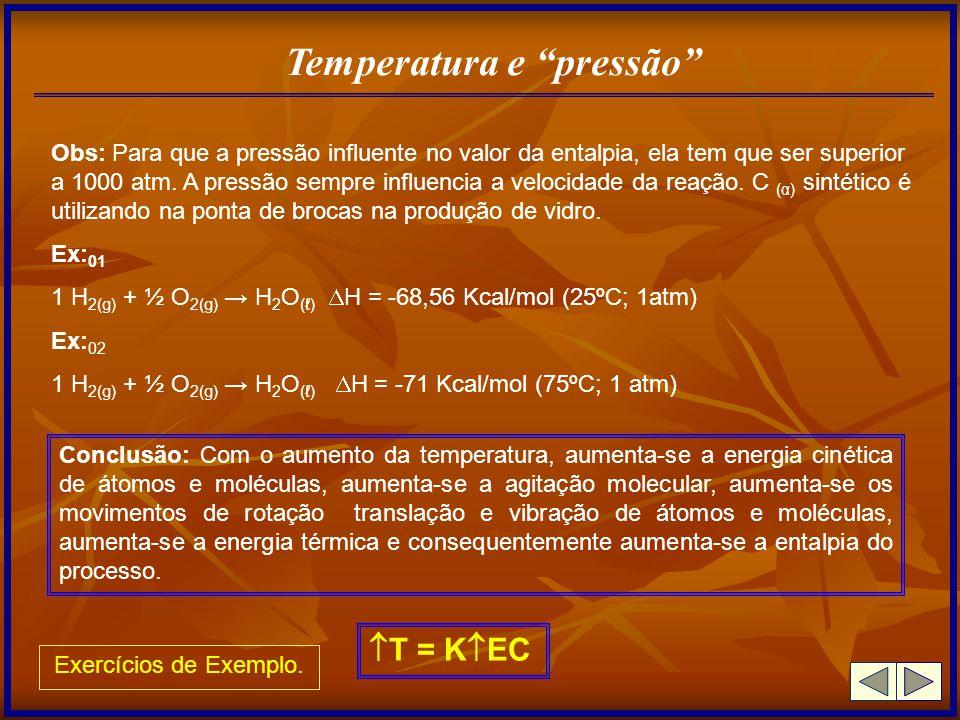 Temperatura e pressão Obs: Para que a pressão influente no valor da entalpia, ela tem que ser superior a 1000 atm. A pressão sempre influencia a veloc