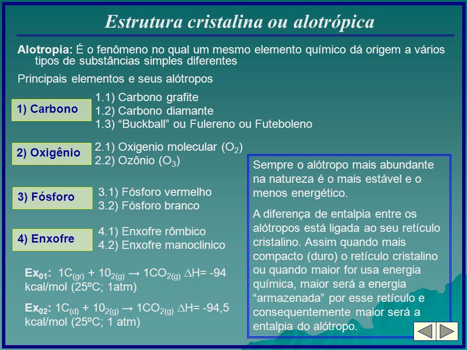 Estrutura cristalina ou alotrópica Alotropia: É o fenômeno no qual um mesmo elemento químico dá origem a vários tipos de substâncias simples diferente