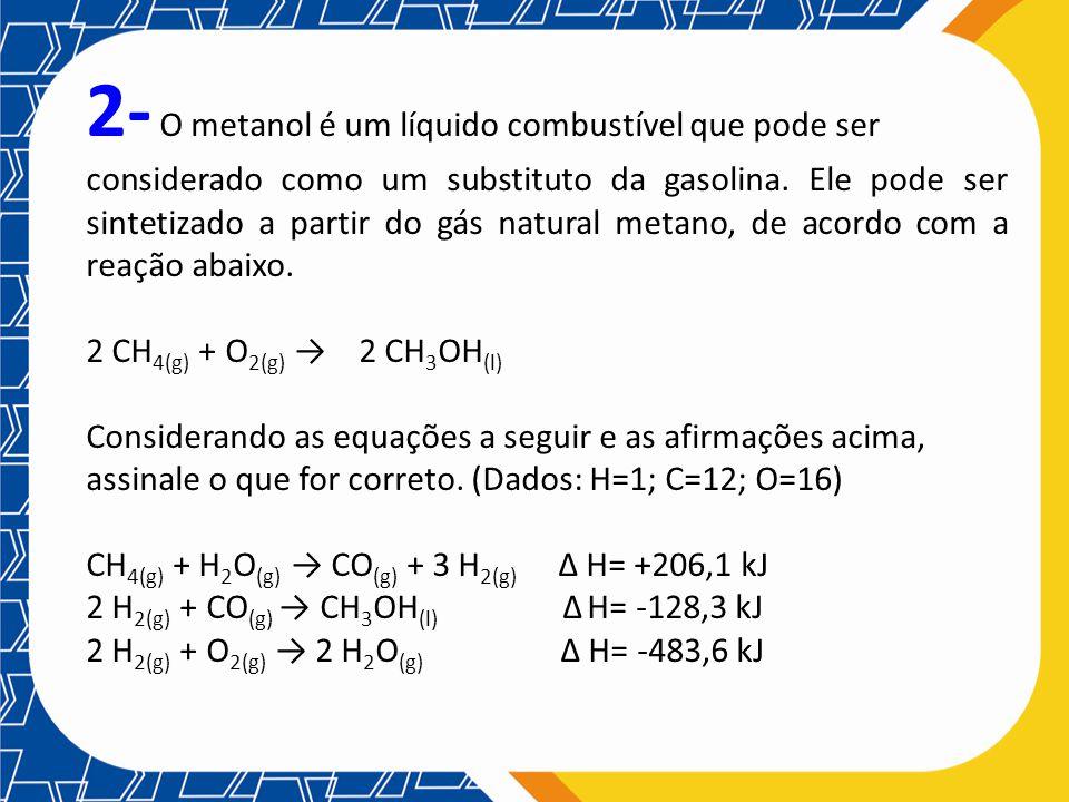 2- O metanol é um líquido combustível que pode ser considerado como um substituto da gasolina. Ele pode ser sintetizado a partir do gás natural metano