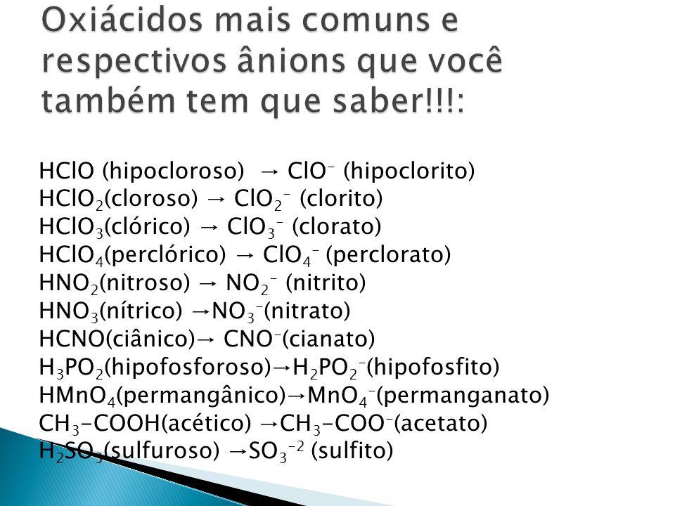 H 2 SO 4 (sulfúrico) SO 4 -2 (sulfato) H 2 S 2 O 3 (tiossulfúrico) S 2 O 3 -2 (tiosulfato) H 2 CrO 4 (crômico) CrO 4 -2 (cromato) H 2 Cr 2 O 7 (dicrômico) Cr 2 O 7 -2 (dicromato) H 2 CO 3 (carbônico) CO 3 -2 (carbonato) H 2 SiO 3 (metassilícico)SiO 3 -2 (metasilicato) H 3 PO 3 (fosforoso)HPO 3 -2 (fosfito) H 3 BO 3 (bórico)BO 3 -3 (borato)