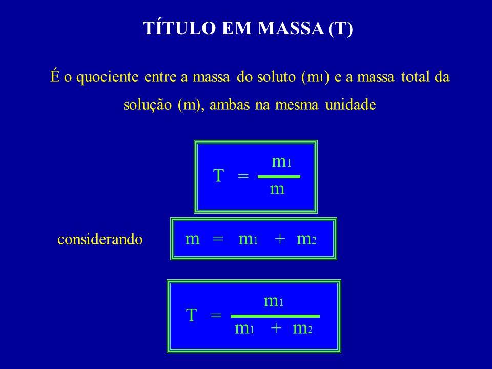 TÍTULO EM MASSA (T) É o quociente entre a massa do soluto (m 1 ) e a massa total da solução (m), ambas na mesma unidade considerando T = m1m1 m = m1m1