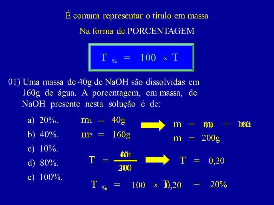 É comum representar o título em massa Na forma de PORCENTAGEM T = 100 % T X 01) Uma massa de 40g de NaOH são dissolvidas em 160g de água. A porcentage