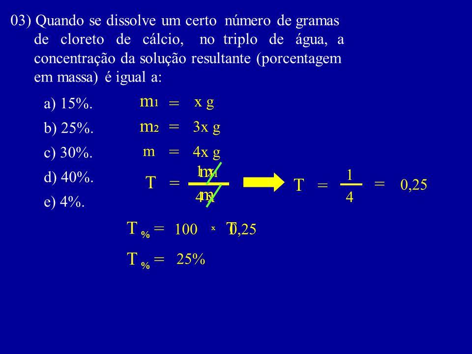 03) Quando se dissolve um certo número de gramas de cloreto de cálcio, no triplo de água, a concentração da solução resultante (porcentagem em massa)