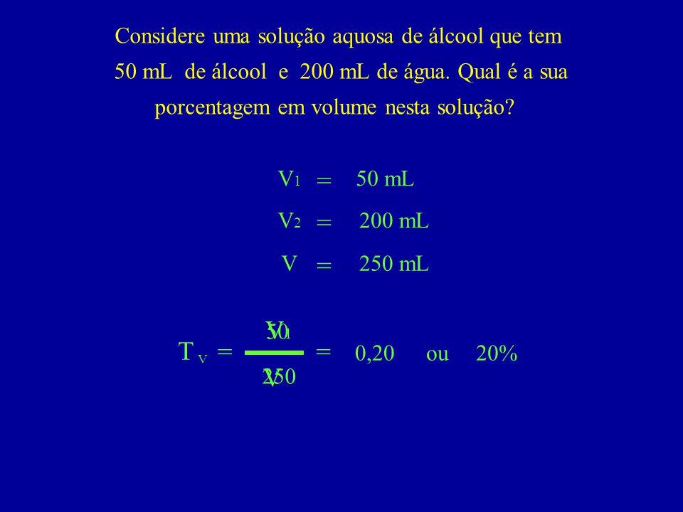 Considere uma solução aquosa de álcool que tem 50 mL de álcool e 200 mL de água. Qual é a sua porcentagem em volume nesta solução? T = V1V1 V V = V1V1