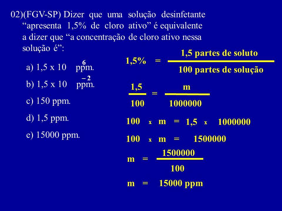02)(FGV-SP) Dizer que uma solução desinfetante apresenta 1,5% de cloro ativo é equivalente a dizer que a concentração de cloro ativo nessa solução é: