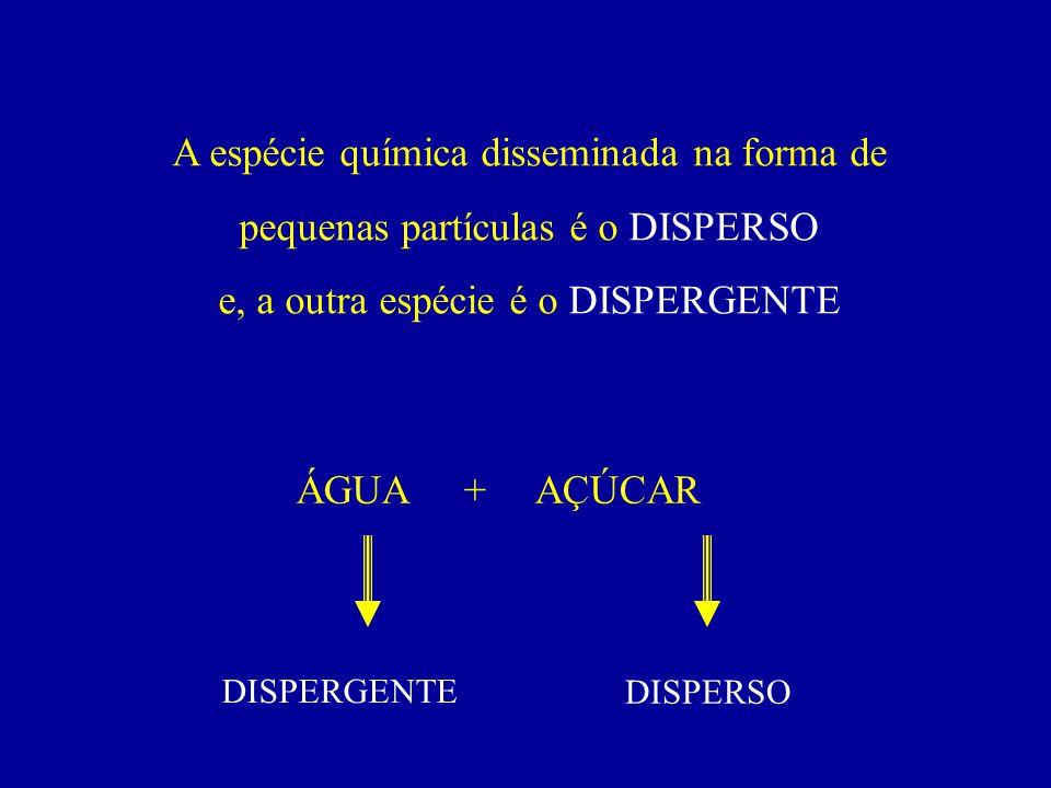 A espécie química disseminada na forma de pequenas partículas é o DISPERSO e, a outra espécie é o DISPERGENTE ÁGUA + AÇÚCAR DISPERGENTE DISPERSO