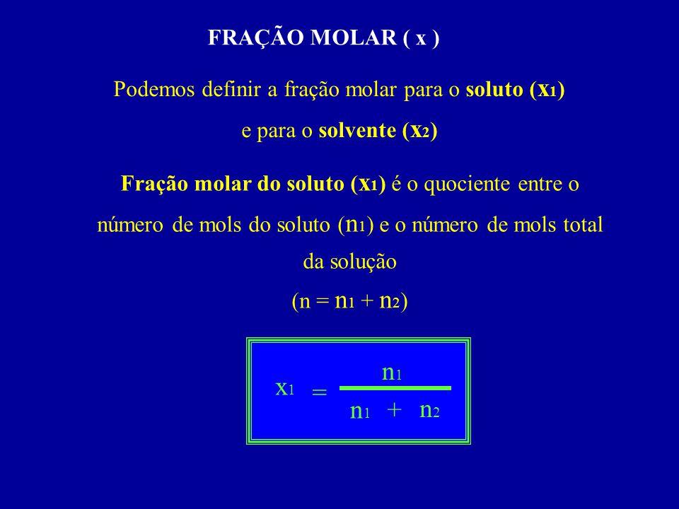 FRAÇÃO MOLAR ( x ) Podemos definir a fração molar para o soluto ( x 1 ) e para o solvente ( x 2 ) Fração molar do soluto ( x 1 ) é o quociente entre o