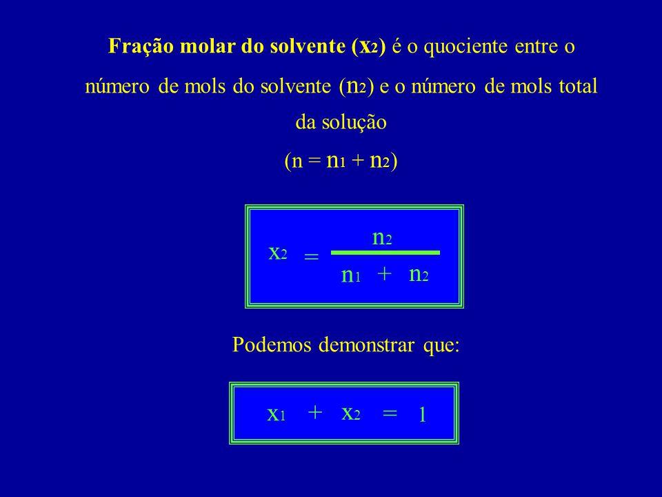 Fração molar do solvente ( x 2 ) é o quociente entre o número de mols do solvente ( n 2 ) e o número de mols total da solução (n = n 1 + n 2 ) Podemos