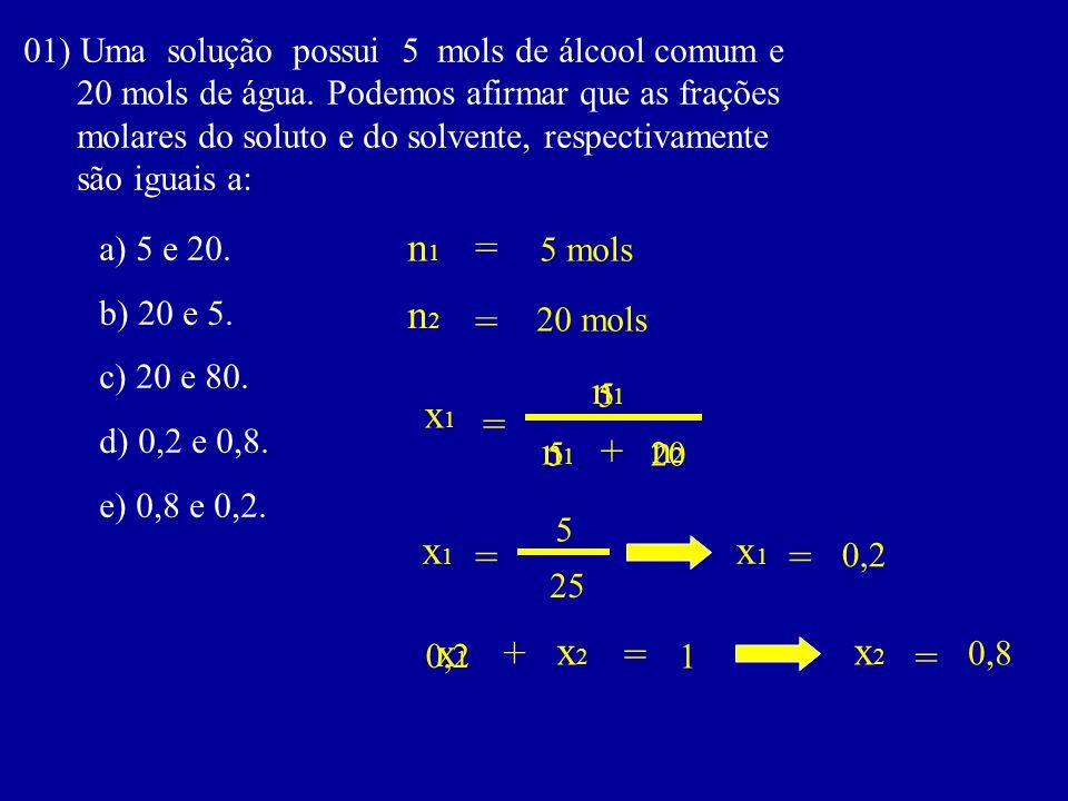 01) Uma solução possui 5 mols de álcool comum e 20 mols de água. Podemos afirmar que as frações molares do soluto e do solvente, respectivamente são i