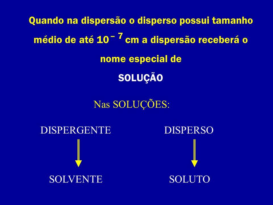 Quando na dispersão o disperso possui tamanho médio de até 10 cm a dispersão receberá o nome especial de SOLUÇÃO – 7 Nas SOLUÇÕES: DISPERGENTEDISPERSO