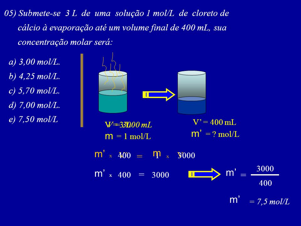 05) Submete-se 3 L de uma solução 1 mol/L de cloreto de cálcio à evaporação até um volume final de 400 mL, sua concentração molar será: a) 3,00 mol/L.