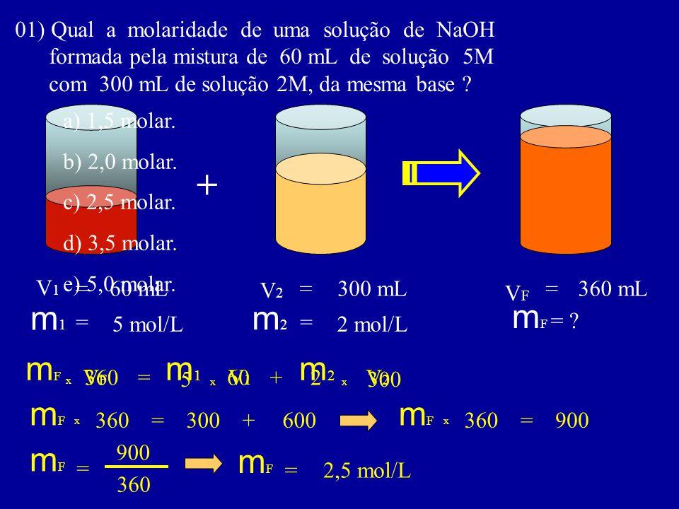 01) Qual a molaridade de uma solução de NaOH formada pela mistura de 60 mL de solução 5M com 300 mL de solução 2M, da mesma base ? + m1m1 m2m2 V1V1 V2