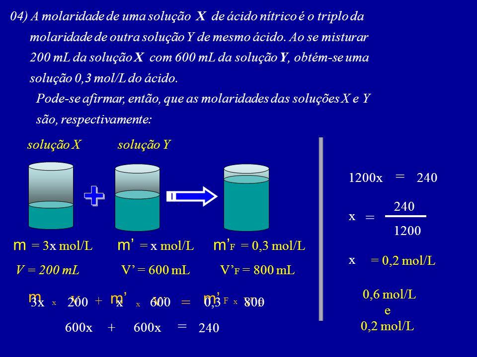 04) A molaridade de uma solução X de ácido nítrico é o triplo da molaridade de outra solução Y de mesmo ácido. Ao se misturar 200 mL da solução X com