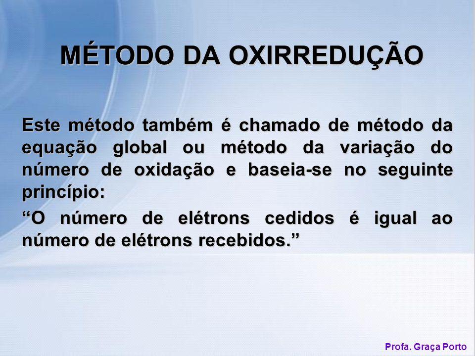 MÉTODO DA OXIRREDUÇÃO Este método também é chamado de método da equação global ou método da variação do número de oxidação e baseia-se no seguinte princípio: O número de elétrons cedidos é igual ao número de elétrons recebidos.