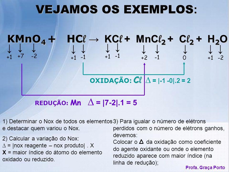 1) Determinar o Nox de todos os elementos e destacar quem variou o Nox. VEJAMOS OS EXEMPLOS : KMnO 4 + HC l KC l + MnC l 2 + C l 2 + H 2 O KMnO 4 + HC