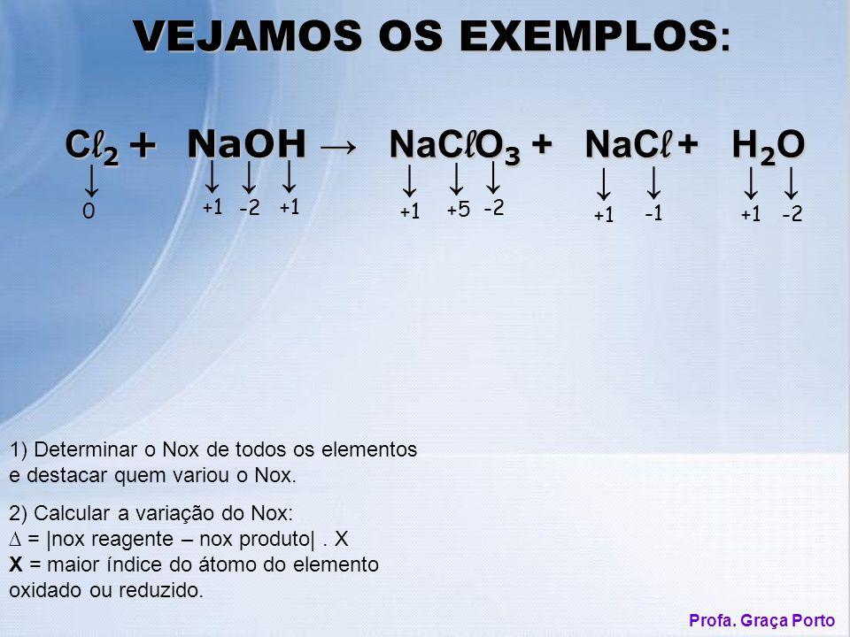 1) Determinar o Nox de todos os elementos e destacar quem variou o Nox. VEJAMOS OS EXEMPLOS : C l 2 + NaOH NaC l O 3 + NaC l + H 2 O C l 2 + NaOH NaC