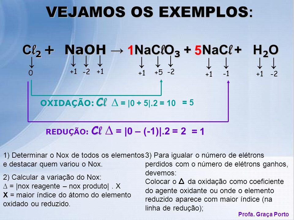 1) Determinar o Nox de todos os elementos e destacar quem variou o Nox. VEJAMOS OS EXEMPLOS : 2) Calcular a variação do Nox: = |nox reagente – nox pro