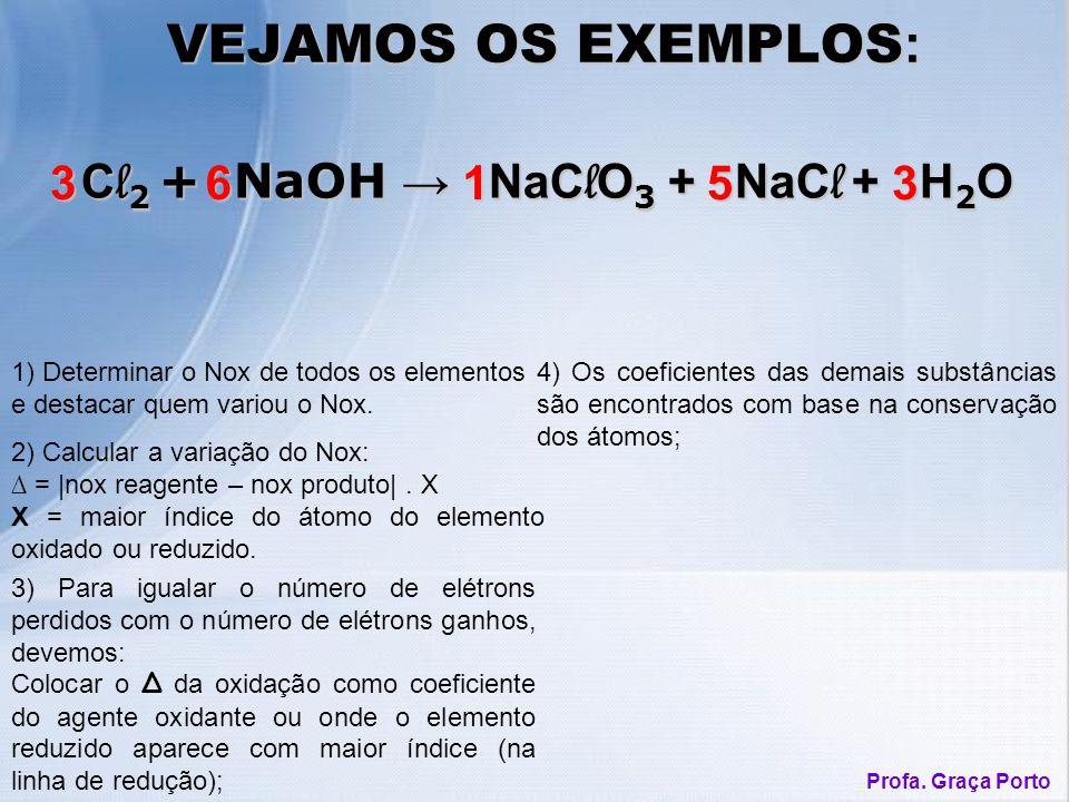 C l 2 + NaOH NaC l O 3 + NaC l + H 2 O C l 2 + NaOH NaC l O 3 + NaC l + H 2 O 1) Determinar o Nox de todos os elementos e destacar quem variou o Nox.