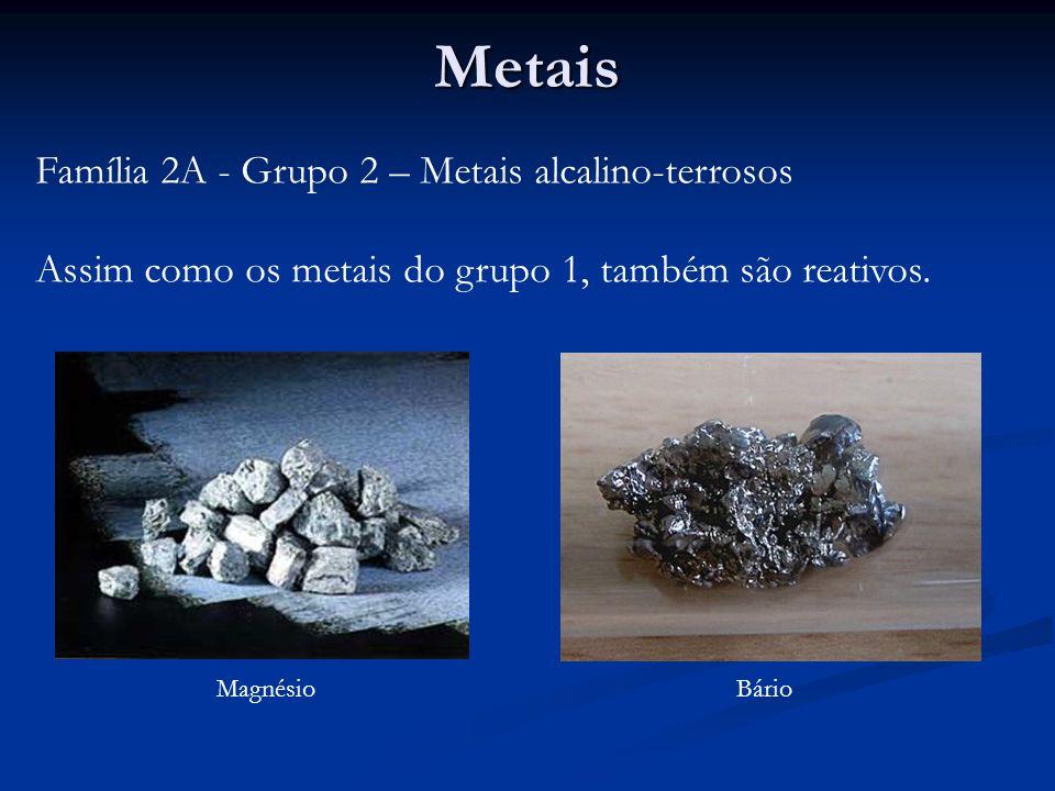 Metais Família 2A - Grupo 2 – Metais alcalino-terrosos Assim como os metais do grupo 1, também são reativos.