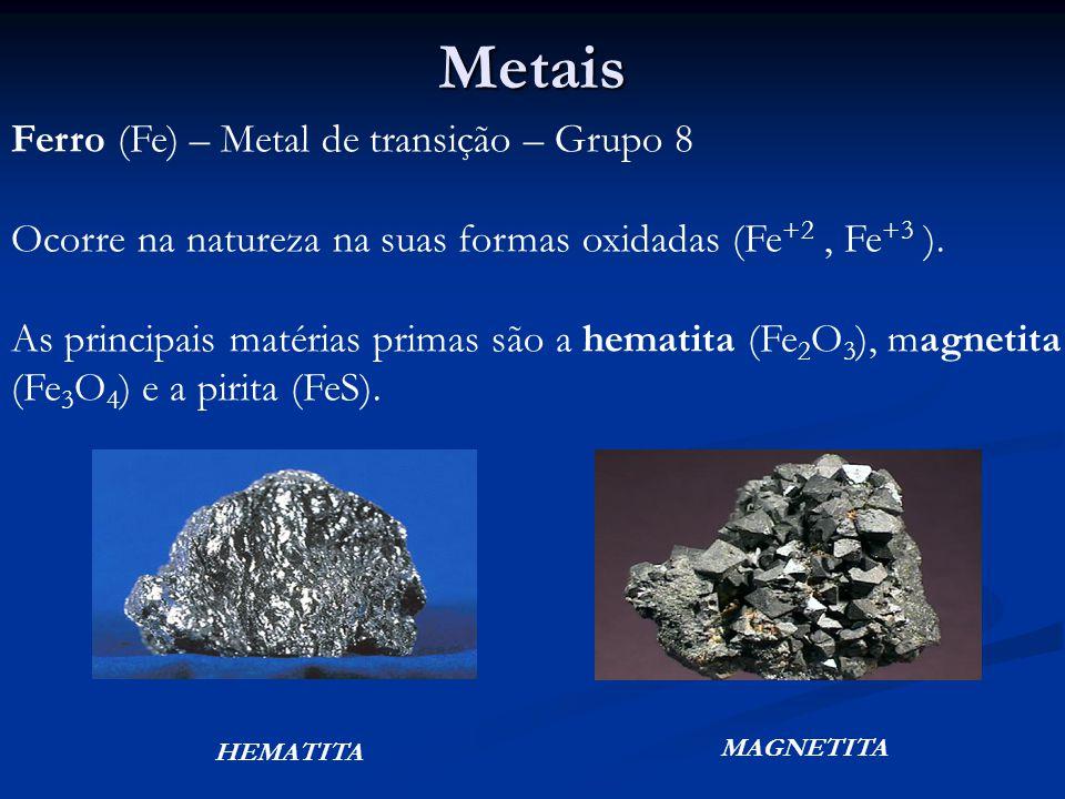 Metais Ferro (Fe) – Metal de transição – Grupo 8 Ocorre na natureza na suas formas oxidadas (Fe +2, Fe +3 ).