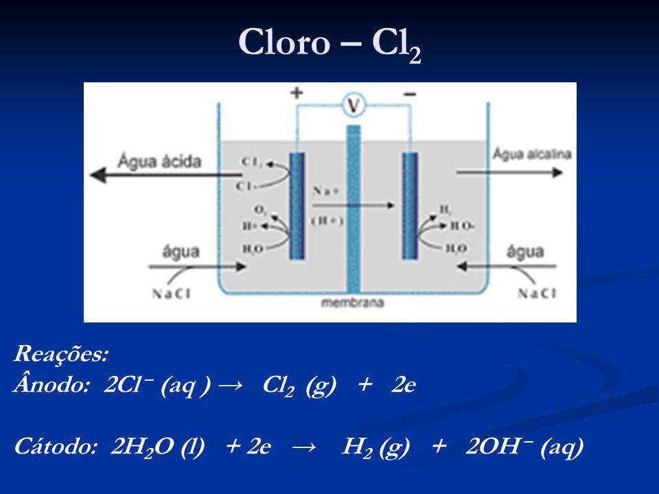 Cloro – Cl 2 Reações: Ânodo: 2Cl – (aq ) Cl 2 (g) + 2e Cátodo: 2H 2 O (l) + 2e H 2 (g) + 2OH – (aq)