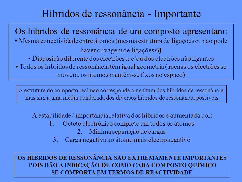 Híbridos de ressonância - Importante Os híbridos de ressonância de um composto apresentam: Mesma conectividade entre átomos (mesma estrutura de ligações, não pode haver clivagem de ligações ) Disposição diferente dos electrões e/ou dos electrões não ligantes Todos os híbridos de ressonância têm igual geometria (apenas os electrões se movem, os átomos mantêm-se fixos no espaço) OS HÍBRIDOS DE RESSONÂNCIA SÃO EXTREMAMENTE IMPORTANTES POIS DÃO A INDICAÇÃO DE COMO CADA COMPOSTO QUÍMICO SE COMPORTA EM TERMOS DE REACTIVIDADE A estrutura do composto real não corresponde a nenhum dos híbridos de ressonância mas sim a uma média ponderada dos diversos híbridos de ressonância possíveis A estabilidade / importância relativa dos híbridos é aumentada por: 1.