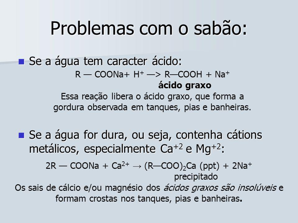 Problemas com o sabão: Se a água tem caracter ácido: Se a água tem caracter ácido: Se a água for dura, ou seja, contenha cátions metálicos, especialme
