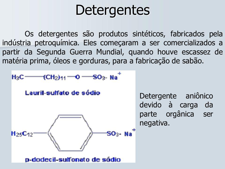 Detergentes Os detergentes são produtos sintéticos, fabricados pela indústria petroquímica. Eles começaram a ser comercializados a partir da Segunda G