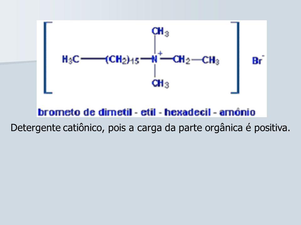 Detergente catiônico, pois a carga da parte orgânica é positiva.