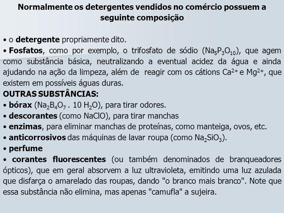Normalmente os detergentes vendidos no comércio possuem a seguinte composição o detergente propriamente dito. Fosfatos, como por exemplo, o trifosfato