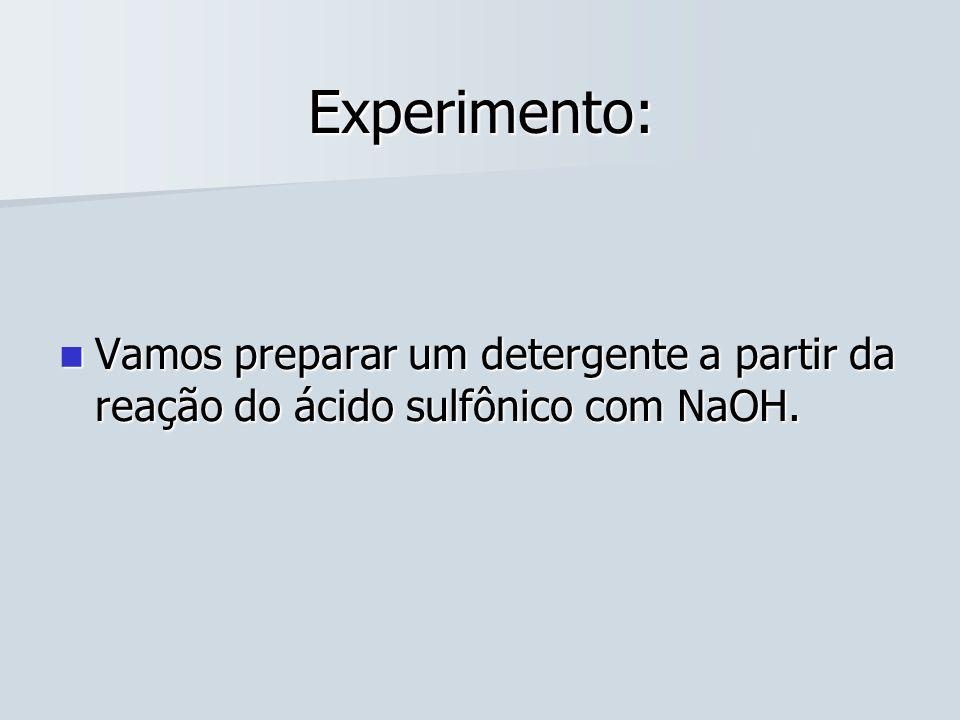 Experimento: Vamos preparar um detergente a partir da reação do ácido sulfônico com NaOH. Vamos preparar um detergente a partir da reação do ácido sul