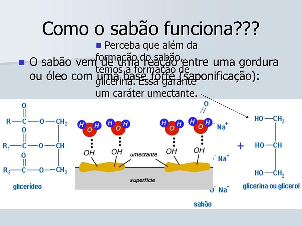 Como o sabão funciona??? O sabão vem de uma reação entre uma gordura ou óleo com uma base forte (saponificação): O sabão vem de uma reação entre uma g