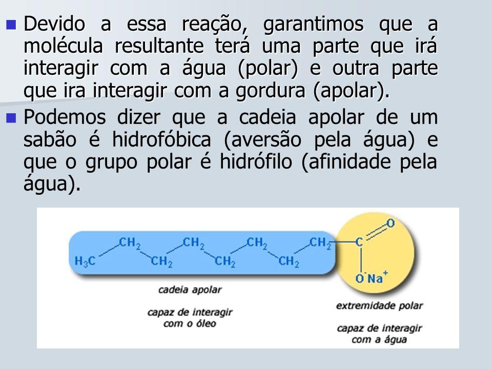 Devido a essa reação, garantimos que a molécula resultante terá uma parte que irá interagir com a água (polar) e outra parte que ira interagir com a g
