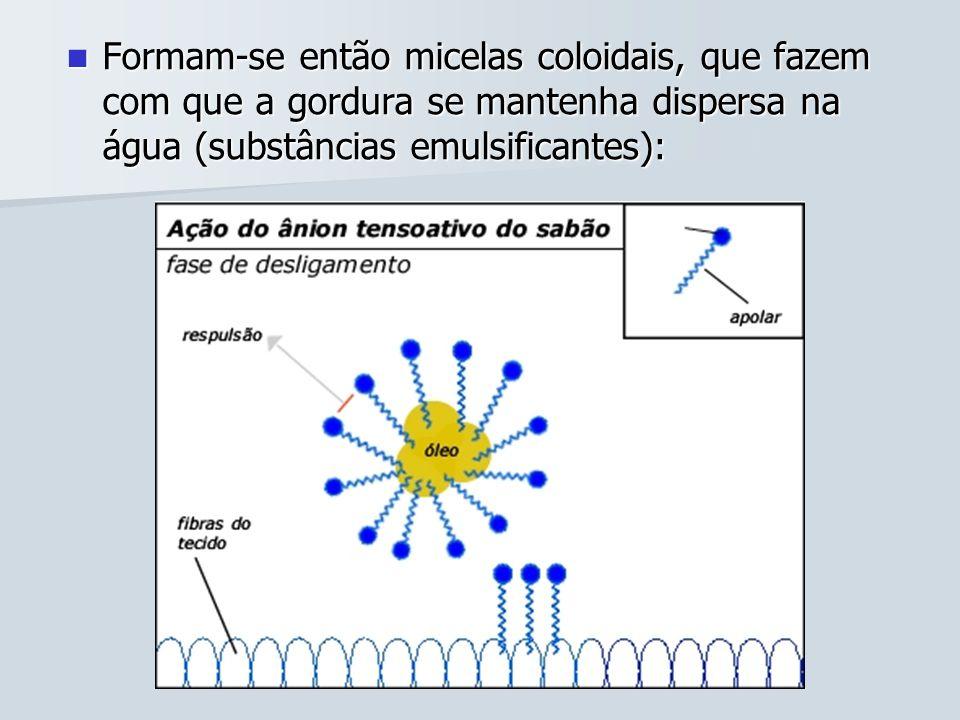 Formam-se então micelas coloidais, que fazem com que a gordura se mantenha dispersa na água (substâncias emulsificantes): Formam-se então micelas colo