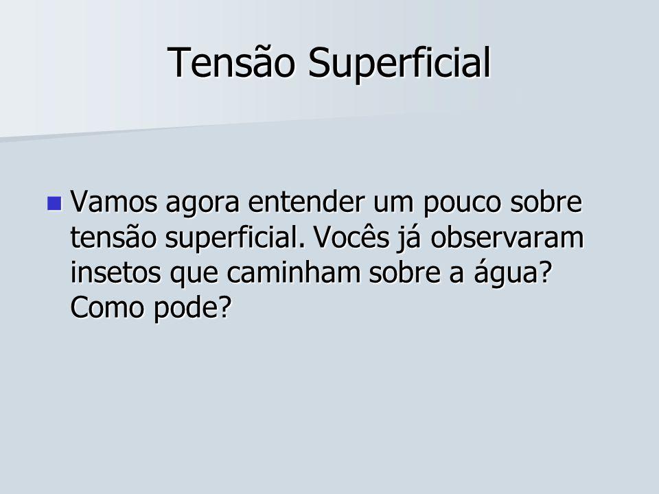 Tensão Superficial Vamos agora entender um pouco sobre tensão superficial.