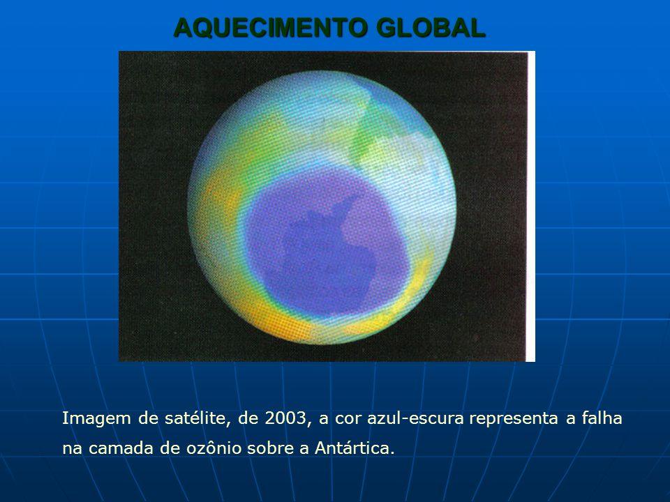 AQUECIMENTO GLOBAL Imagem de satélite, de 2003, a cor azul-escura representa a falha na camada de ozônio sobre a Antártica.